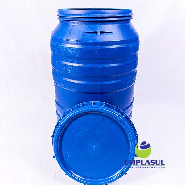 Bombona 200 Litros Azul com tampa grande da marca Emplasul